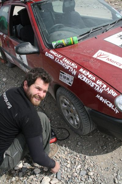 Mike in their 2010 Mongol Rally trip (Abandon the Cube)