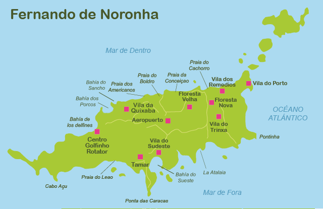 Mapa y plano Fernando de Noronha
