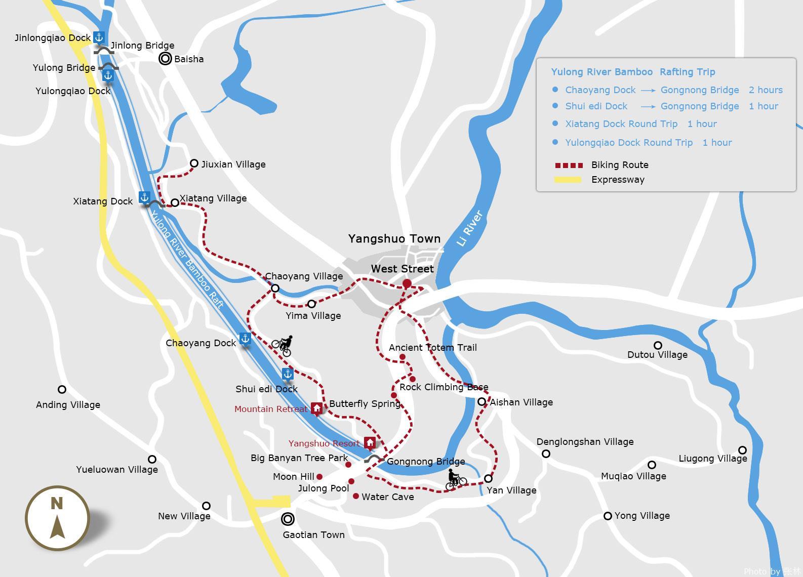 Mapa Rutas por Yangshuo