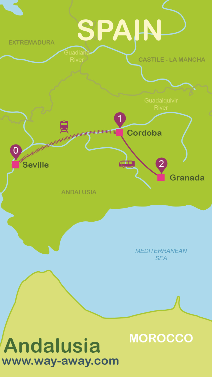 City Break Andalusia In Days - Andalusia map