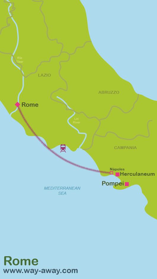 Map of Rome-Herculaneum-Pompei #onlyen
