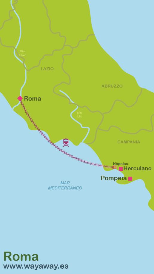 Mapa de Roma-Herculano-Pompeia #onlyes
