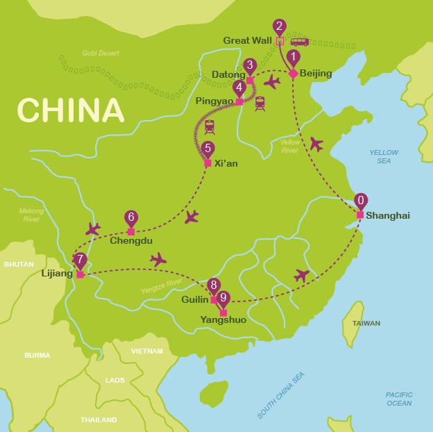 Map and itinerary China #onlyen #map