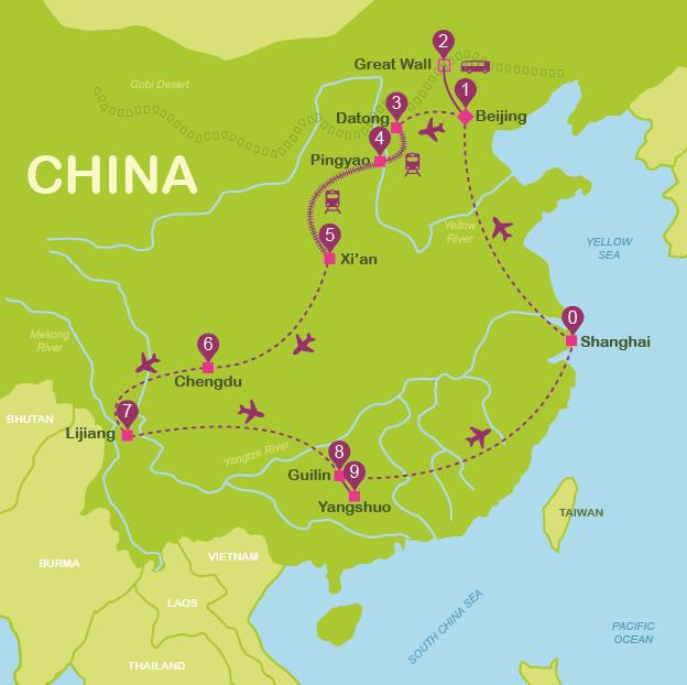 Map and itinerary China #onlyen #map