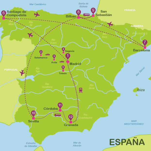 Spain in 25 days for independent travellers