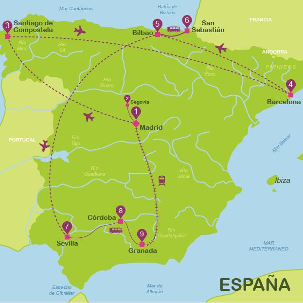 Mapa De Bilbao España.Mapas Turisticos De Espana Plano De Espana