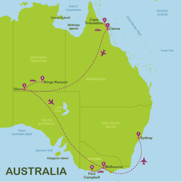 Map and route Australia #onlyen #map