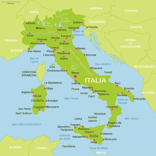 Mapas tursticos de Italia  Plano de Italia