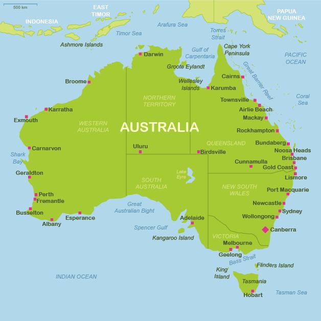 Australia travel maps – Travel Map of Australia