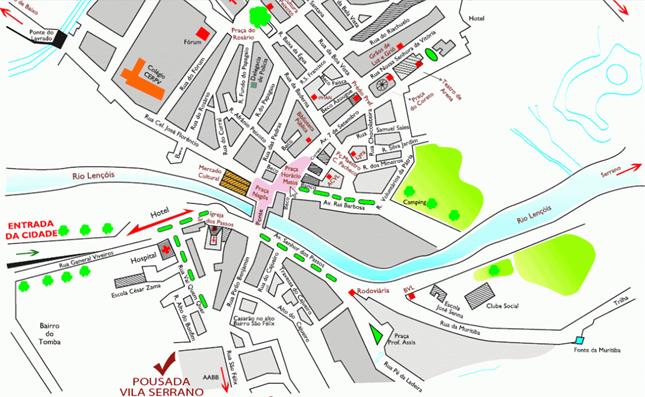 mapa Pousada Vila Serrano