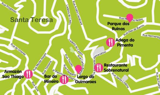 Mapa y plano Barrio de Santa Teresa, Brasil