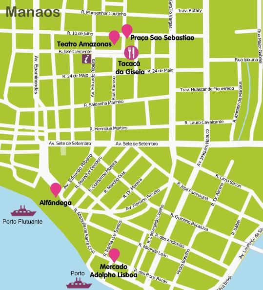 Mapa y plano Centro Histórico de Manaos, Brasil