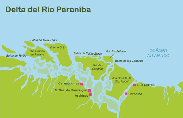 Mapa y plano Delta del Parnaíba