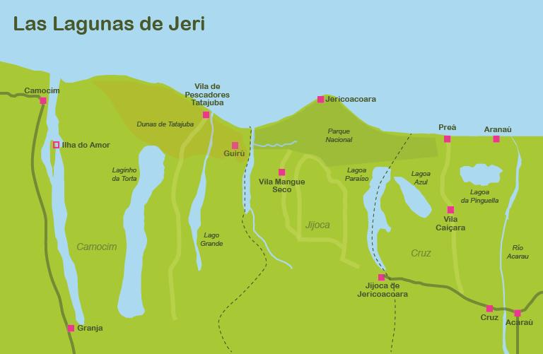 Mapa y plano las Lagunas de Jericoacoara