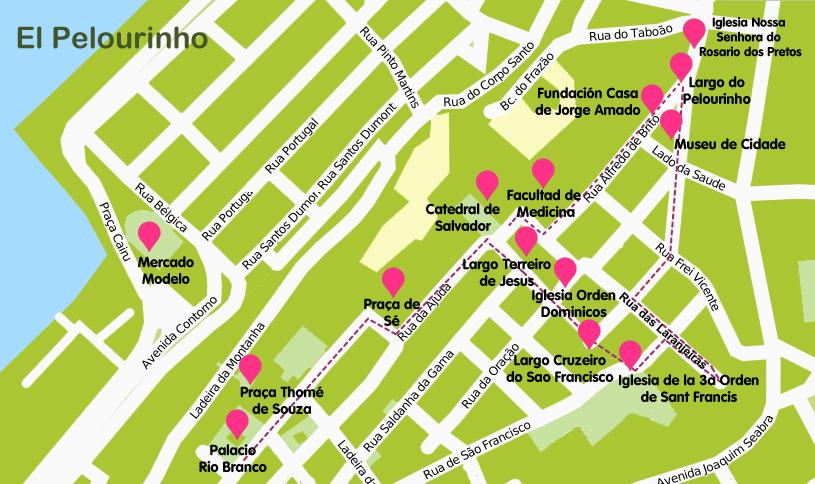 Mapa y plano El Pelourinho, Salvador de Bahía