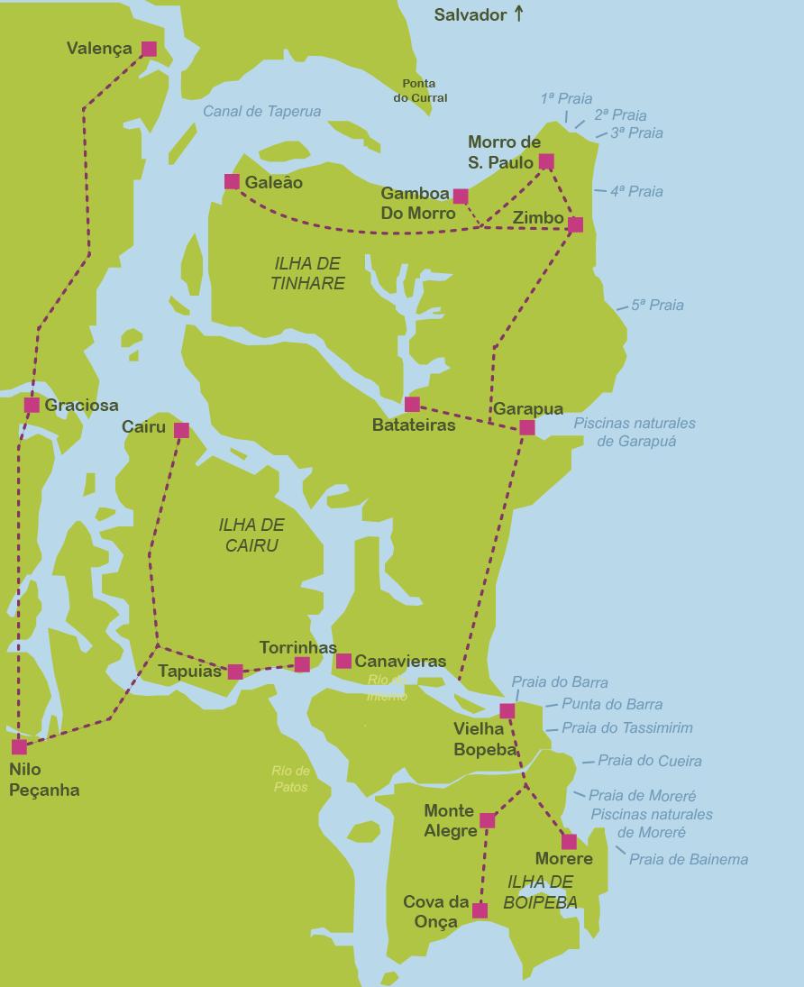 Mapa y plano Archipiélago de Tinharé, Morro de Sao Paulo y Boipeba