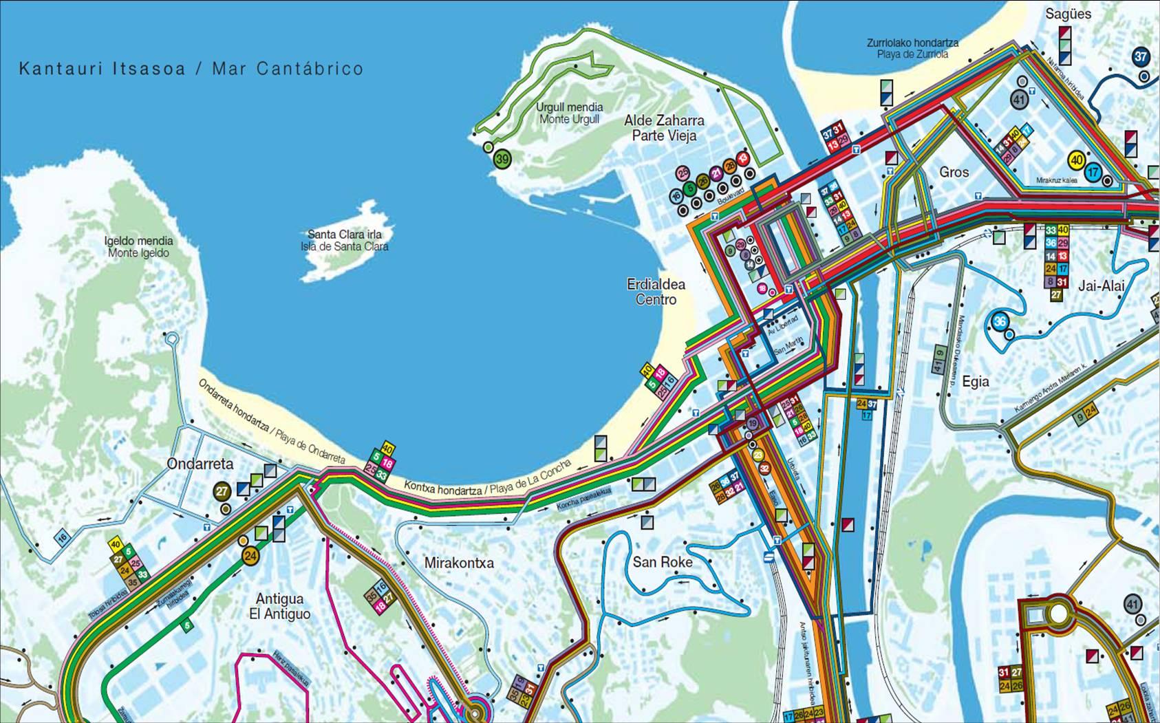 San Sebastian bus mapa