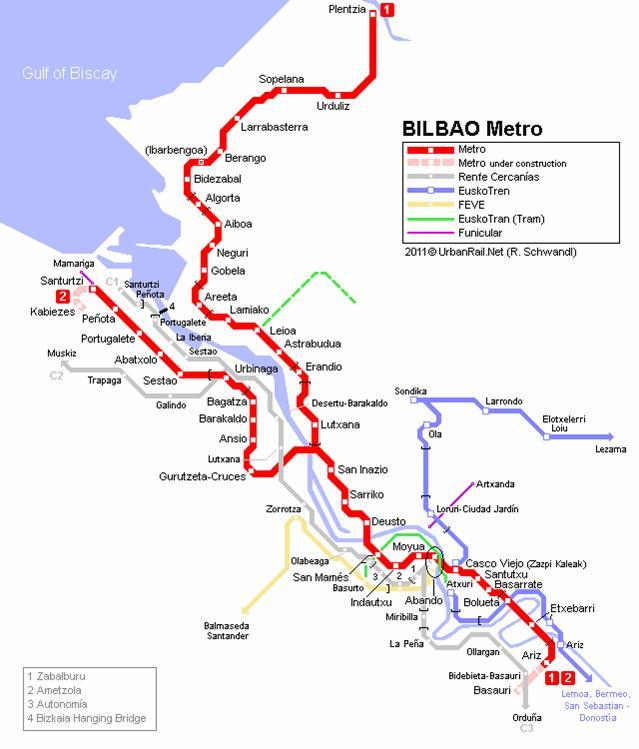 Bilbao metro mapa