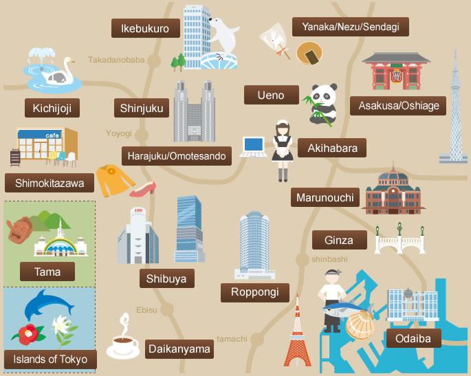 Mapa de Tokio | Plano con rutas turísticas