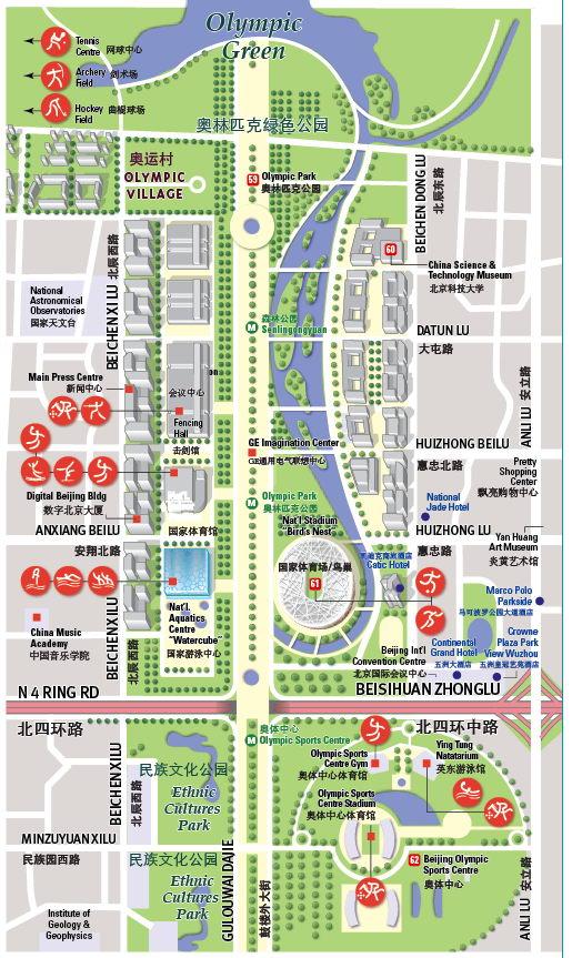 Parque Olímpico Pekín mapa JPG