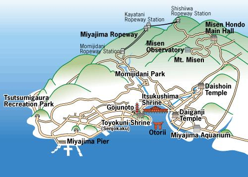 Miyajima isla mapa
