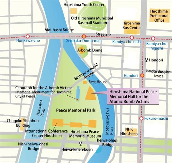 Hiroshima mapa parque de la paz