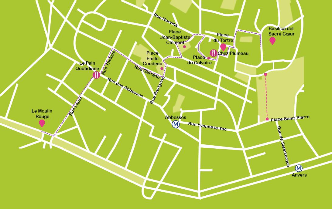 Mapa París MontMartre