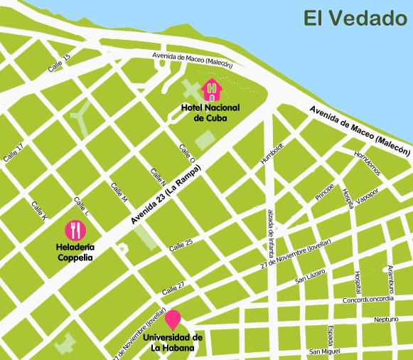 Mapa y plano El Vedado