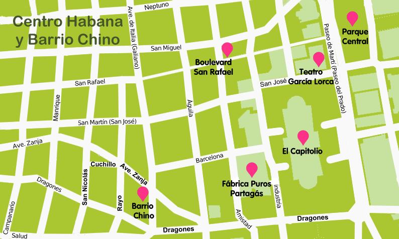 Mapa y plano La Habana Centro
