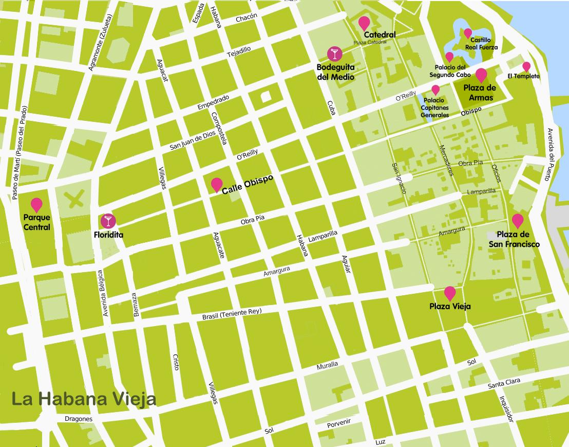 Mapa y plano La Habana Vieja