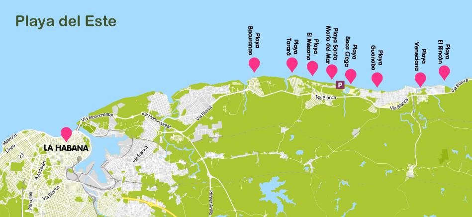 Mapa y plano Playa Este, Cuba