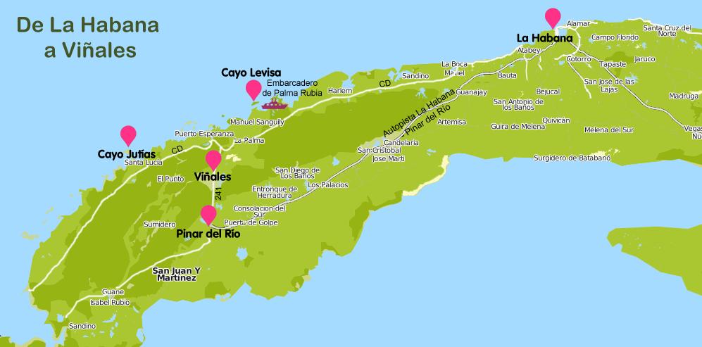 Mapa y plano Ruta de La Habana a Viñales
