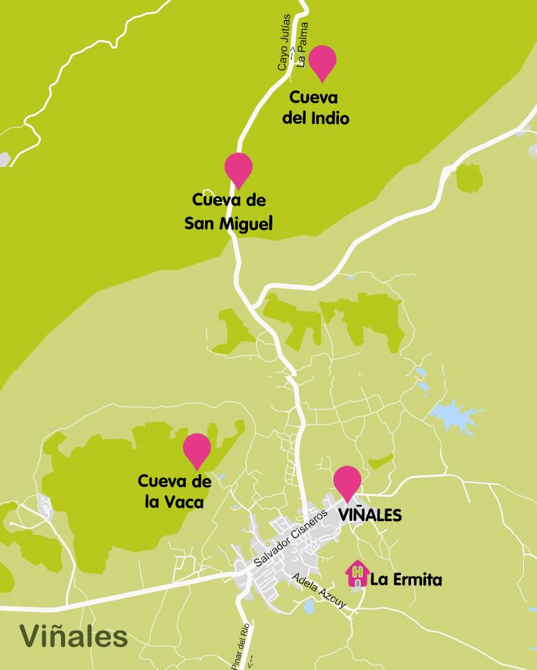 Mapa y plano Cuevas de Viñales, Cuba