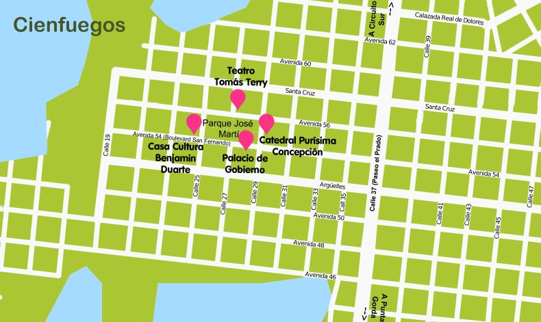 Mapa y plano Cienfuegos, Cuba