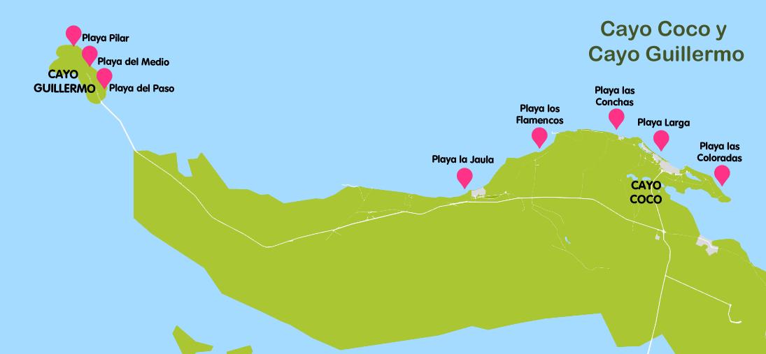 Mapa y plano Cayo Guillermo, Cuba