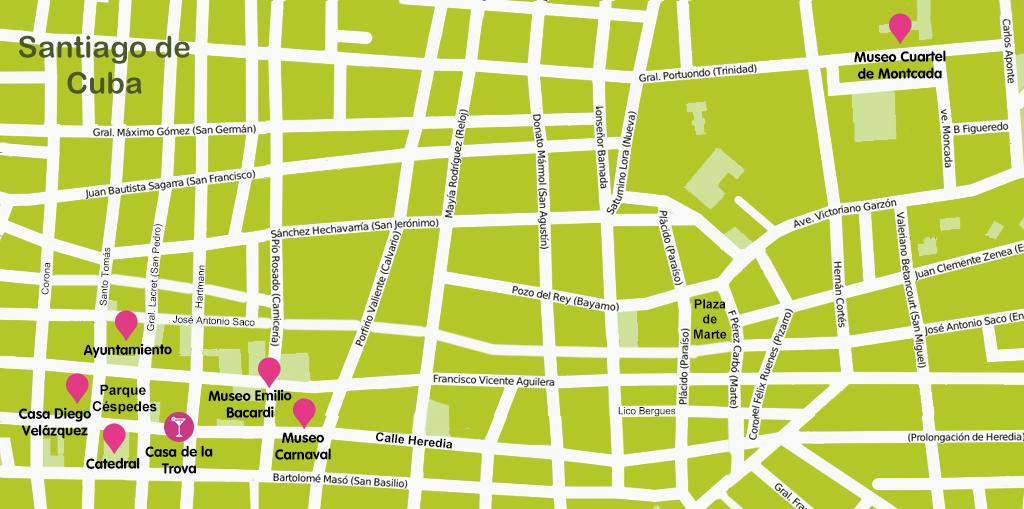 Mapa y plano Santiago de Cuba