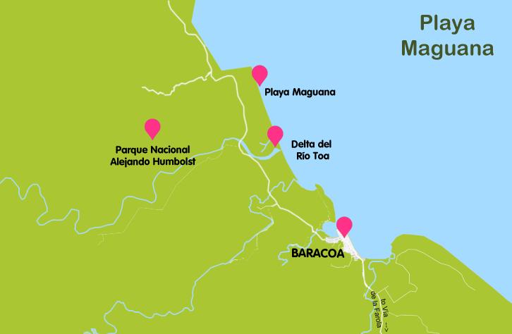 Mapa y plano Playa Manguana, Cuba