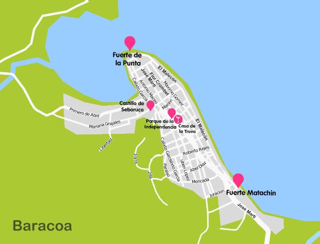 Mapa y plano Baracoa, Cuba