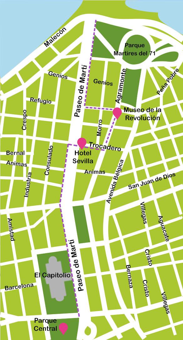Mapa y plano Paseo Prado