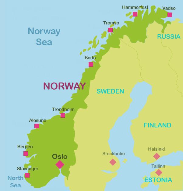 Mapa Noruega general ingles #onlyen
