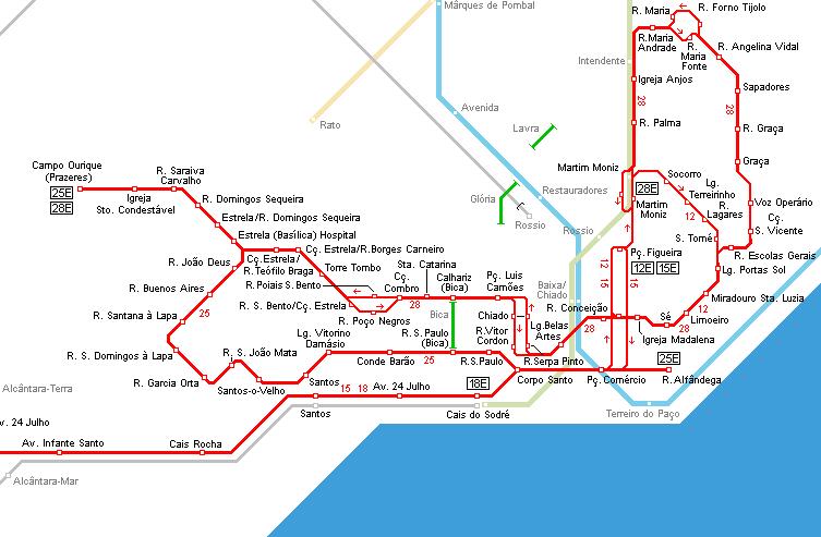 mapa electricos lisboa Lisboa en tranvía (eléctrico): mapa electricos lisboa