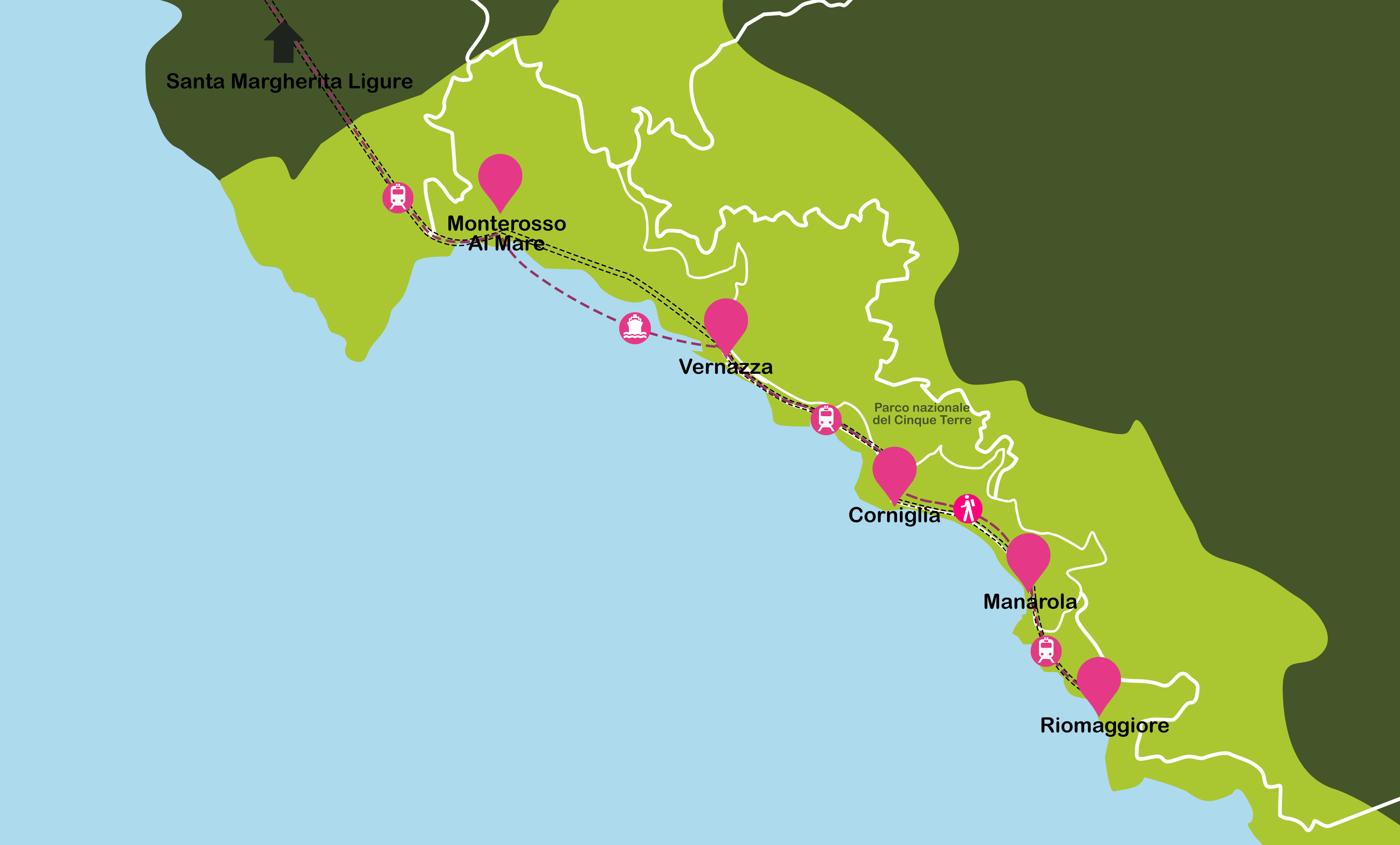 Mapa de Italia. Cinqueterre: Santa Margherita Ligure, Vernazza, Corniglia, Manarola, Riomaggiore