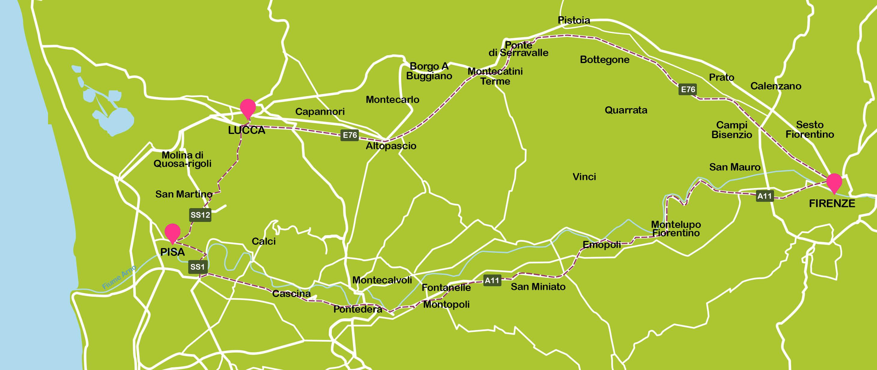 Mapa De Toscana Plano Con Rutas Turisticas