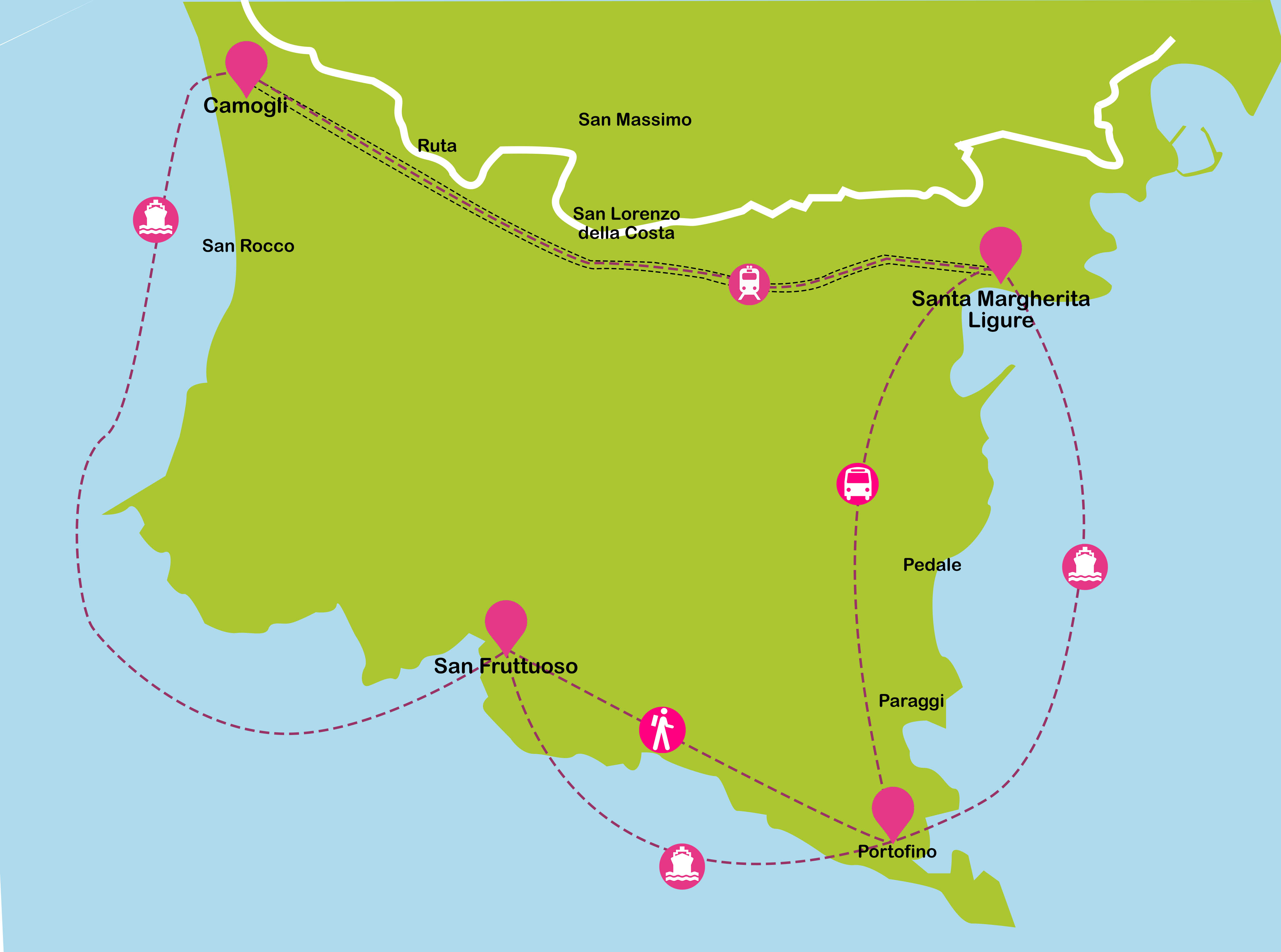 Mapa de Italia. De Sta Margherita Ligure a Camogli, San Fruttuoso y Portofino
