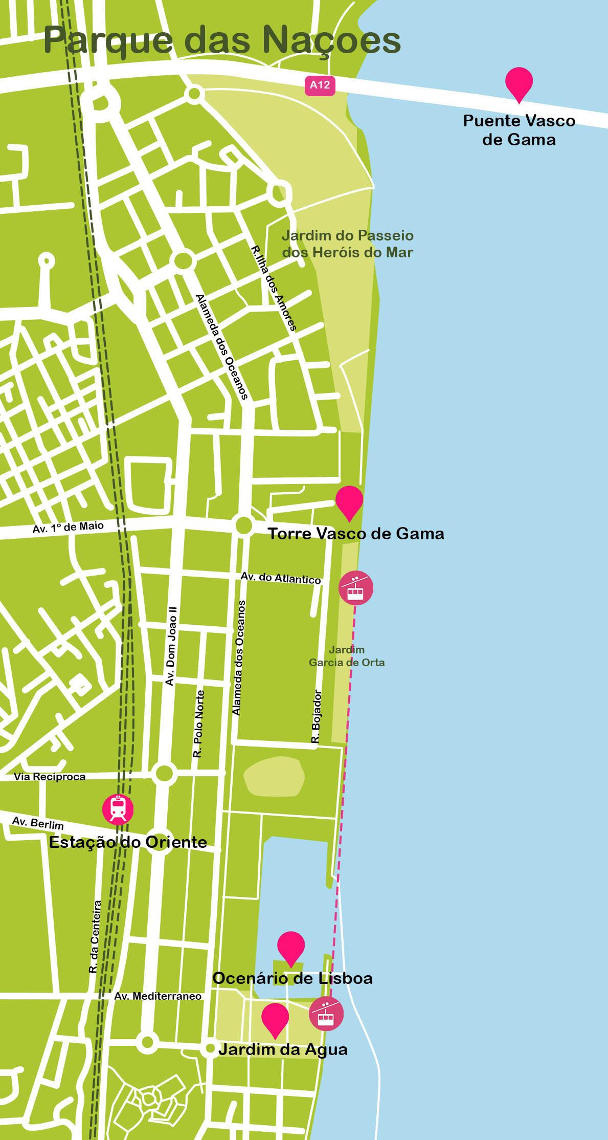 Mapa de Lisboa. Parque das Naçoes
