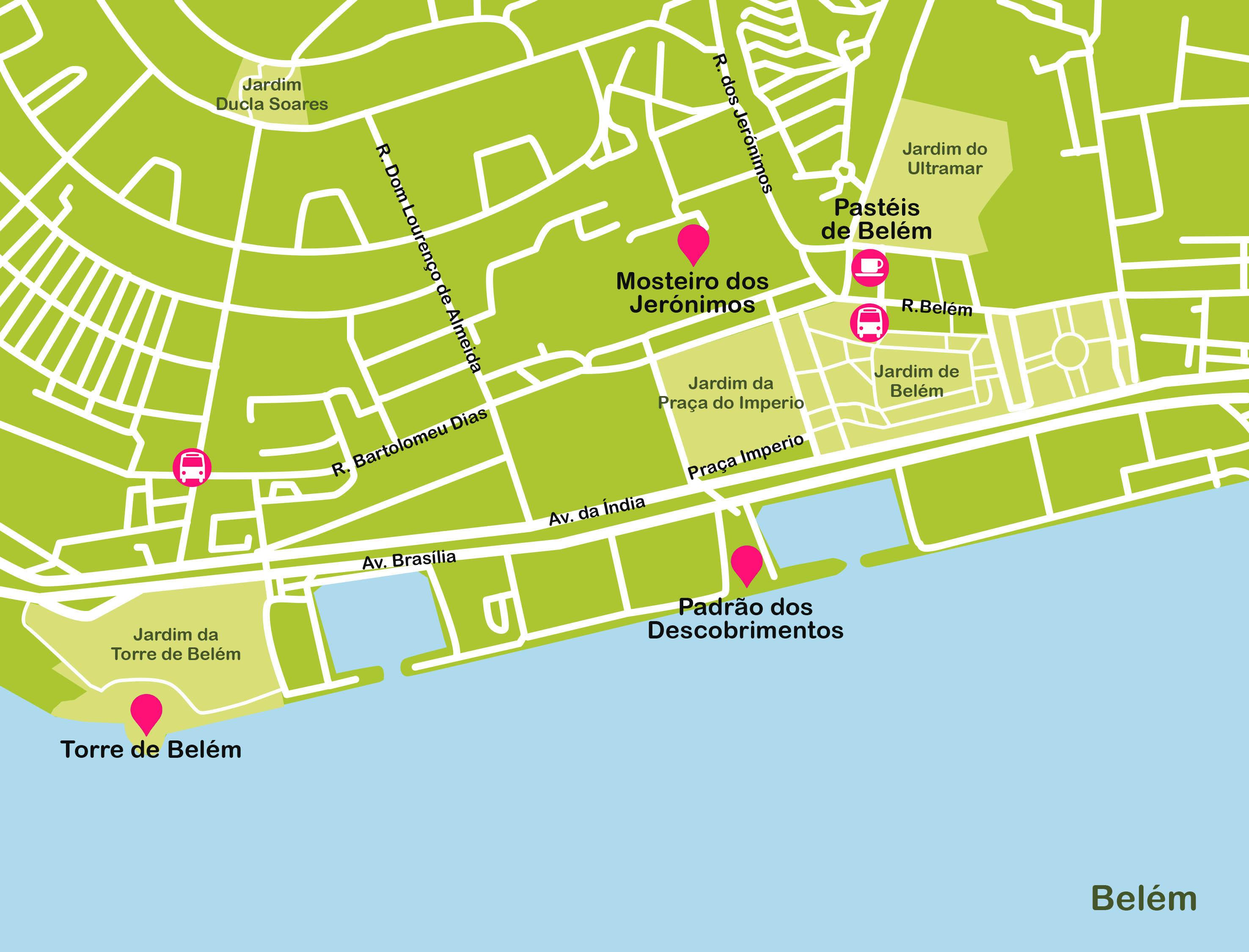 Mapa de Lisboa. Belém