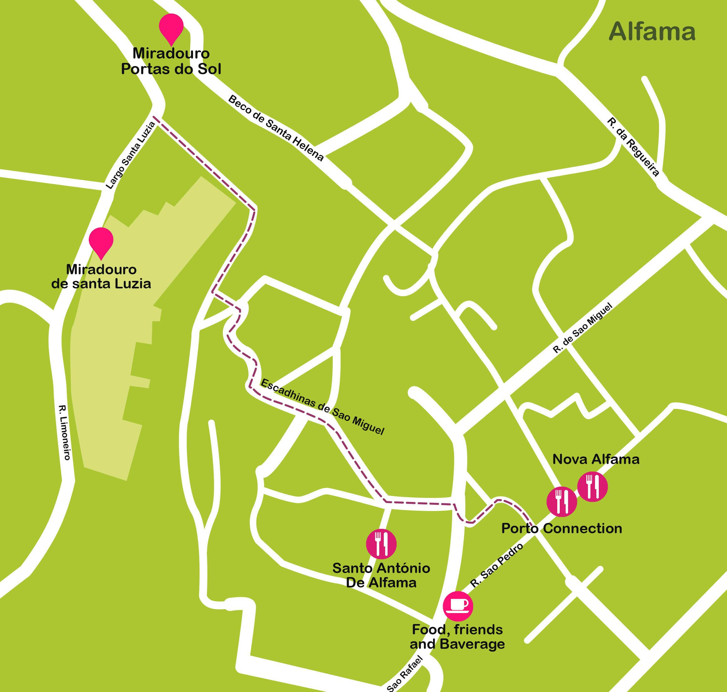 Mapa de Lisboa. Alfama