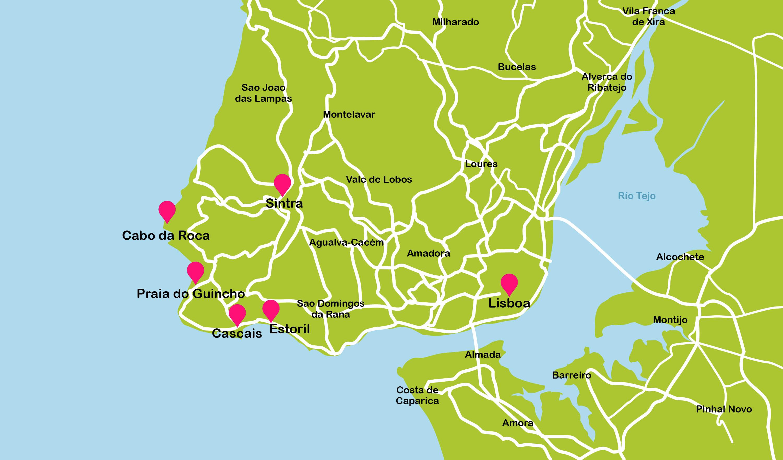 mapa de lisboa sintra Portugal travel maps mapa de lisboa sintra