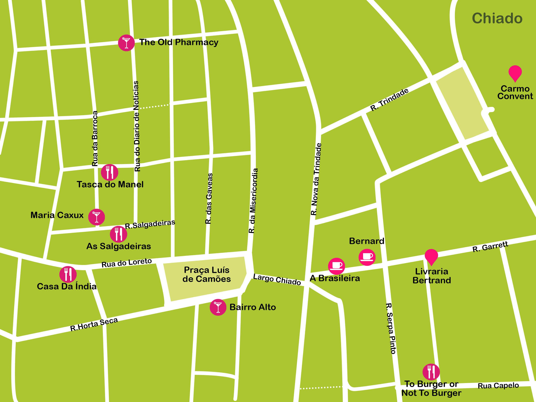 Mapa de Lisboa. Chiado