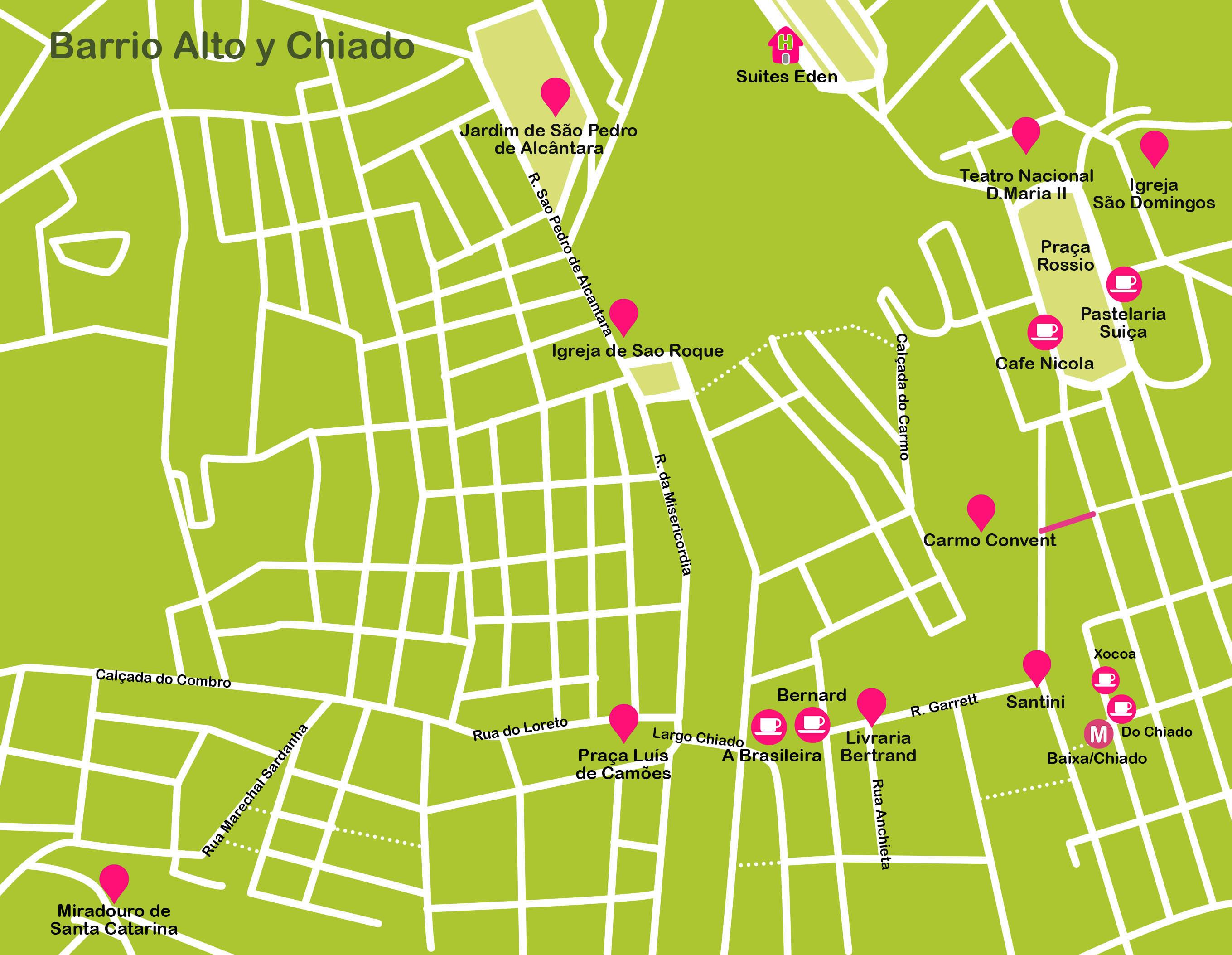 Mapa de Lisboa. Barrio Alto y Chiado